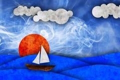 Mare, sole, barca a vela Fotografie Stock Libere da Diritti