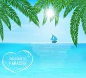 Mare, sole, tavola a vela illustrazione vettoriale
