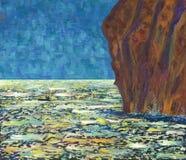 Mare tempestoso al giorno soleggiato Pescatore nella barca Immagine Stock Libera da Diritti