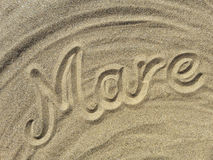 Mare write on the sand Royalty Free Stock Photos