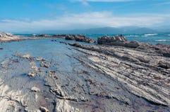 Marea baja en Kaikoura, Nueva Zelanda Fotos de archivo libres de regalías