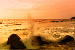 Marea de la puesta del sol imagenes de archivo