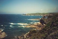 Marea dell'oceano con le grandi onde Immagini Stock Libere da Diritti