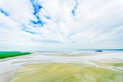 Marea inferior en bahía del Saint Michel de Mont. Normandía. Fotos de archivo libres de regalías