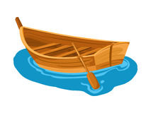 Marea inferior y barco motorizado de madera ilustración del vector