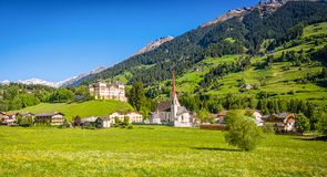 Mareit - Mareta Racines - Ratching village in Italy, south Tyrol. Mareta is located at the valley entrance of the Val Ridanna Ridnaun and is enthroned by Castel Royalty Free Stock Photos