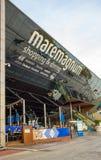 Maremagnum som shoppar Barcelona port Arkivfoto