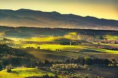 Maremma countryside, sunrise foggy landscape. Bibbona, Tuscany, Royalty Free Stock Photo