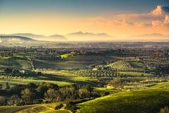 Maremma countryside, sunrise landscape. Elba island on horizon. Royalty Free Stock Photos