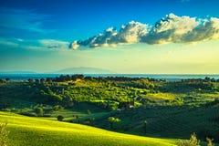 Maremma countryside, sunset landscape. Elba island on horizon. T Royalty Free Stock Photography
