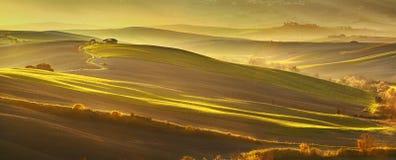 Maremma, ländliche Sonnenunterganglandschaft Wiesen und Grünfelder Tusca lizenzfreies stockbild