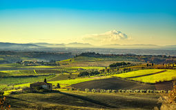 Maremma, rural sunrise landscape. Countryside old farm and green Stock Photography