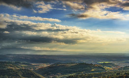 Maremma sunset panorama. Countryside, hills and sea on horizon. Royalty Free Stock Image