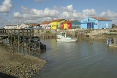 Marennes France 12-13-2018 Port traditionnel pour le port de farminTraditional d'huître pour l'agriculture d'huître de Marennes O image libre de droits