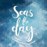 Mares el día Diseño único del cartel o de la ropa de la tipografía Letras Handdrawn de una frase sobre la pasión por los viajes,  Foto de archivo
