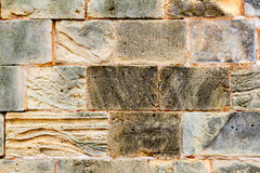 Mares sandstone stone masonry wall in Majorca Royalty Free Stock Photography