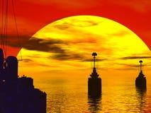 Mares sul durante a guerra de mundo ajuste Imagens de Stock