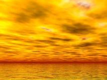 Mares y cielos amarillos Imagenes de archivo