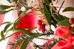 Maretak en Amerikaanse vlag De decoratie van Kerstmis Royalty-vrije Stock Afbeelding