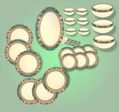 Marfim bonito com projeto gerado por computador colorido da ilustração do grupo de jantar da beira ilustração stock