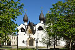 Marfo-Mariinsky Convent, or Martha and Mary Convent of Mercy. Pokrov Cathedral in spring. Moscow, Russia Stock Photo