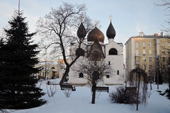 Marfo-Mariinsky Convent of Mercy in Moscow in winter. Architecture of Marfo-Mariinsky Convent of Mercy Stavropegic Nunnery in Moscow, Russia. Popular landmark Royalty Free Stock Images