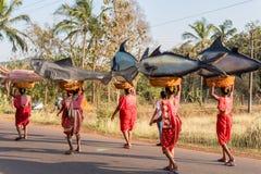 Margao, Goa/Ινδία 12 Φεβρουαρίου 2018: Εορτασμοί καρναβαλιού σε Goa, Ινδία Στοκ Εικόνα