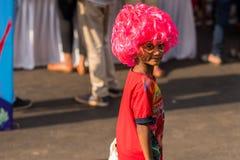Margao Goa/Indien Februari 12 2018: Karnevalberömmar i Goa, Indien Fotografering för Bildbyråer