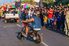 Margao Goa/Indien Februari 12 2018: Karnevalberömmar i Goa, Indien Arkivbilder
