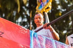 Margao Goa/Indien Februari 12 2018: Karnevalberömmar i Goa, Indien Royaltyfria Bilder