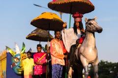 Margao Goa/Indien Februari 12 2018: Karnevalberömmar i Goa, Indien Royaltyfri Bild