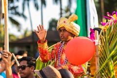 Margao Goa/Indien Februari 12 2018: Karnevalberömmar i Goa, Indien Arkivfoto