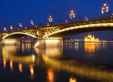 Margaret Bridge. And the building of Parliamnet,  in Budapest, Hungary Stock Images