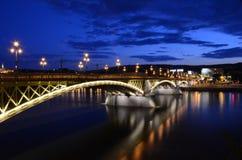 Margaret Bridge in Boedapest bij nacht Royalty-vrije Stock Afbeelding