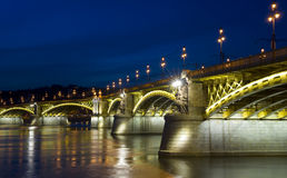 Margaret bridge, Budapest. The renewed Margaret bridge by night in Budapest Stock Image