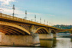 Margaret bridge in Budapest, Hungary. Margaret bridge crossing Danube river in Budapest, Hungary. Shoot from Pest side Royalty Free Stock Photos