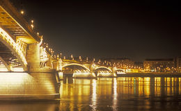 Margaret Bridge at night. Budapest, capital of Hungary Royalty Free Stock Photo