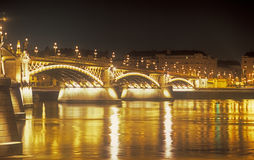 Margaret Bridge at night. Budapest, capital of Hungary Stock Photos