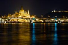 Margaret bridge, Parliament and Citadel in Budapest stock photo