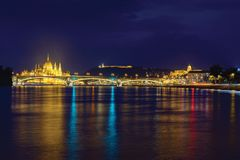 Margaret bridge, Parliament and King`s Palace in Budapest royalty free stock image