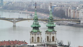 Margaret Bridge and St.Anna Church in Budapest stock footage