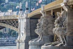 Margaret bro i Budapest, Ungern Arkivbilder