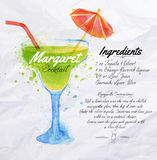 Margaret cocktails watercolor. Margaret cocktails drawn watercolor blots and stains with a spray, including recipes and ingredients on the background of crumpled Royalty Free Stock Photography