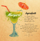 Margaret cocktails watercolor kraft Royalty Free Stock Photo