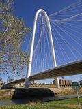 Margaret Hunt Bridge in Dallas at sunny winter day Royalty Free Stock Photos