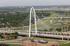 The Margaret Hunt Bridge in Dallas, United States. DALLAS, USA - APR 7: The Margaret Hunt Bridge designed by Santiago Calatrava is the new landmark in Dallas Royalty Free Stock Photo