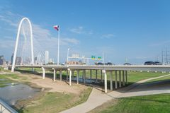 Margaret Hunt Hill bridge and Downtown Dallas Skylines from From. Margaret Hunt Hill Bridge and Downtown Dallas Skylines under cloud blue sky. Spans the Trinity Royalty Free Stock Image