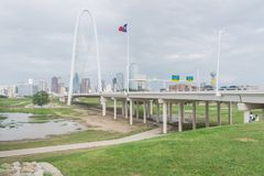 Margaret Hunt Hill bridge and Downtown Dallas Skylines from From royalty free stock photography