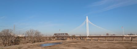 Margaret Hunt Hill Bridge in Downtown Dallas, Texas. Margaret Hunt Hill and old railway bridge in Downtown Dallas, Texas, USA spans the Trinity River. It is Royalty Free Stock Image