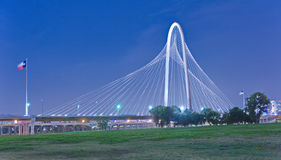 Margaret Hunt Hill Bridge at night in Dallas, Texas Royalty Free Stock Image